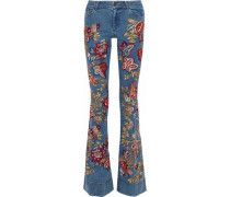 Ryley embroidered low-rise flared jeans