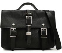 Buckle-embellished Crinkled Coated-leather Shoulder Bag Black Size --