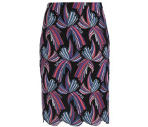 Embroidered Macramé Cotton-blend Skirt Black