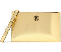 Embellished Cracked-leather Pouch Gold Size --