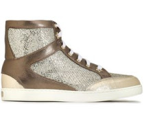 Tokyo glittered mesh and metallic leather high-top sneakers