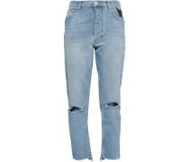 Appliquéd distressed high-rise straight-leg jeans
