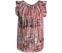 Ruffle-trimmed tie-dye stretch-cotton poplin top