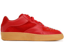 Woman Glam Slam Leather And Studded Suede Sneakers Tomato Red