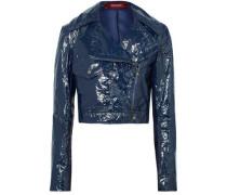 Woman Annabelle Cropped Crinkled-vinyl Biker Jacket Navy
