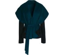 Belted boiled wool-blend jacket