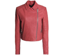 Leather Biker Jacket Antique Rose