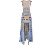Asymmetric embellished printed silk mini dress