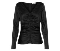 Adela Ruched Silk-blend Satin Top Black