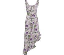 Asymmetric wrap-effect floral-print crepe de chine dress