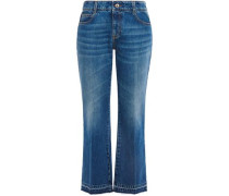 Woman Cropped Faded Mid-rise Kick-flare Jeans Mid Denim
