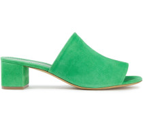 Woman Suede Mules Green