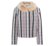 Faux Fur-trimmed Checked Wool Jacket Multicolor