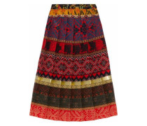 Pleated Printed Crepe Midi Skirt Tomato Red