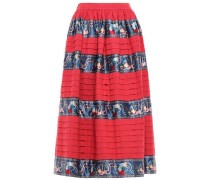 Gathered Satin-trimmed Cotton-canvas Midi Skirt Crimson
