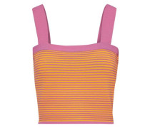 Cropped Ribbed-knit Top Saffron
