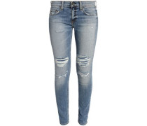 The Dre Distressed Low-rise Skinny Jeans Light Denim  4