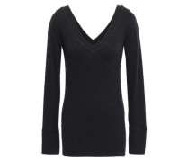 Bead-embellished Stretch-cotton Jersey Top Black