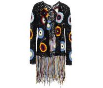 Fringed Crocheted Cotton Jacket Black