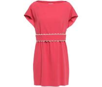 Scalloped Crepe Mini Dress Fuchsia