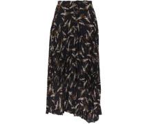 Pleated Printed Crepe De Chine Midi Skirt Black