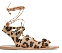 Antigone lace-up leather-trimmed  leopard-print pony hair sandals