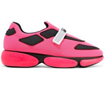 Rubber-trimmed Neon Mesh Sneakers Bright Pink