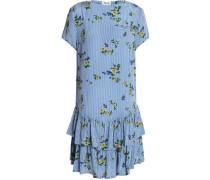 Ruffled printed crepe mini dress