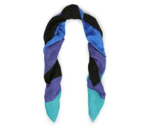 Color-block Polka-dot Linen-blend Scarf Turquoise Size --
