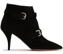 Buckled Suede Ankle Boots Black