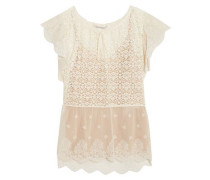 Lace and embroidered tulle blouse