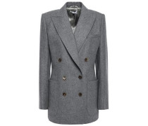 Woman Double-breasted Mélange Brushed Wool-felt Blazer Gray
