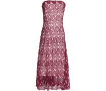 Strapless fluted guipure lace midi dress