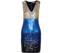Nat Color-block Sequined Mesh Mini Dress Black