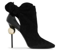 Cutout Knotted Leather And Suede Ankle Boots Black