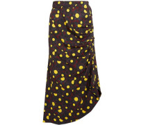 Asymmetric printed crepe midi skirt