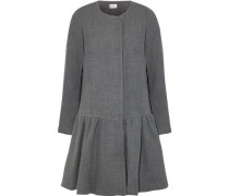 Fluted Wool-blend Twill Coat Gray