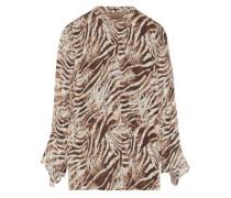 Woman Chava Zebra-print Fil Coupé Silk-blend Blouse Animal Print