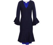 Fluted Stretch-knit Dress Navy