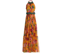 Tie-back embellished floral-print silk-chiffon gown