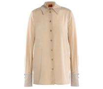 Crochet knit-trimmed silk-blend crepe de chine shirt