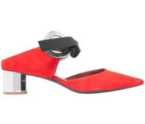 Cutout Suede Mules Red