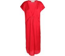 Gathered satin-crepe dress