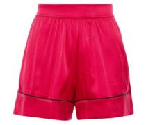 Stretch-silk Satin Pajama Shorts Crimson Size II
