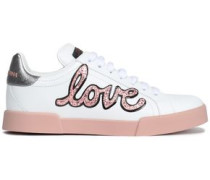 Glittered Appliquéd Leather Sneakers White