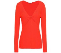 Cutout Ribbed Wool-blend Top Tomato Red