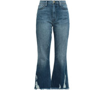 Cropped Distressed High-rise Bootcut Jeans Mid Denim  8
