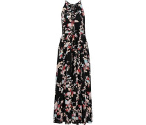 Gathered Floral-print Silk Crepe De Chine Maxi Dress Black