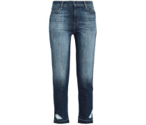 Ruby Cropped Distressed High-rise Slim-leg Jeans Dark Denim  4