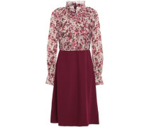 Pleated Floral-print Georgette And Twill Dress Burgundy